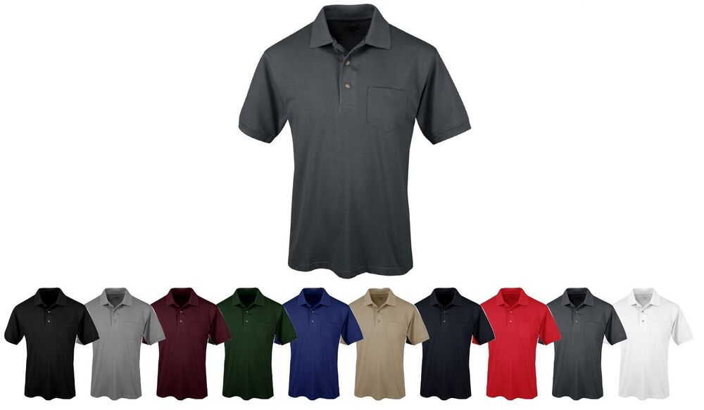 Mens easy care cotton poly polo shirt pocket tall lt 2t for Men s cotton polo shirts with pocket