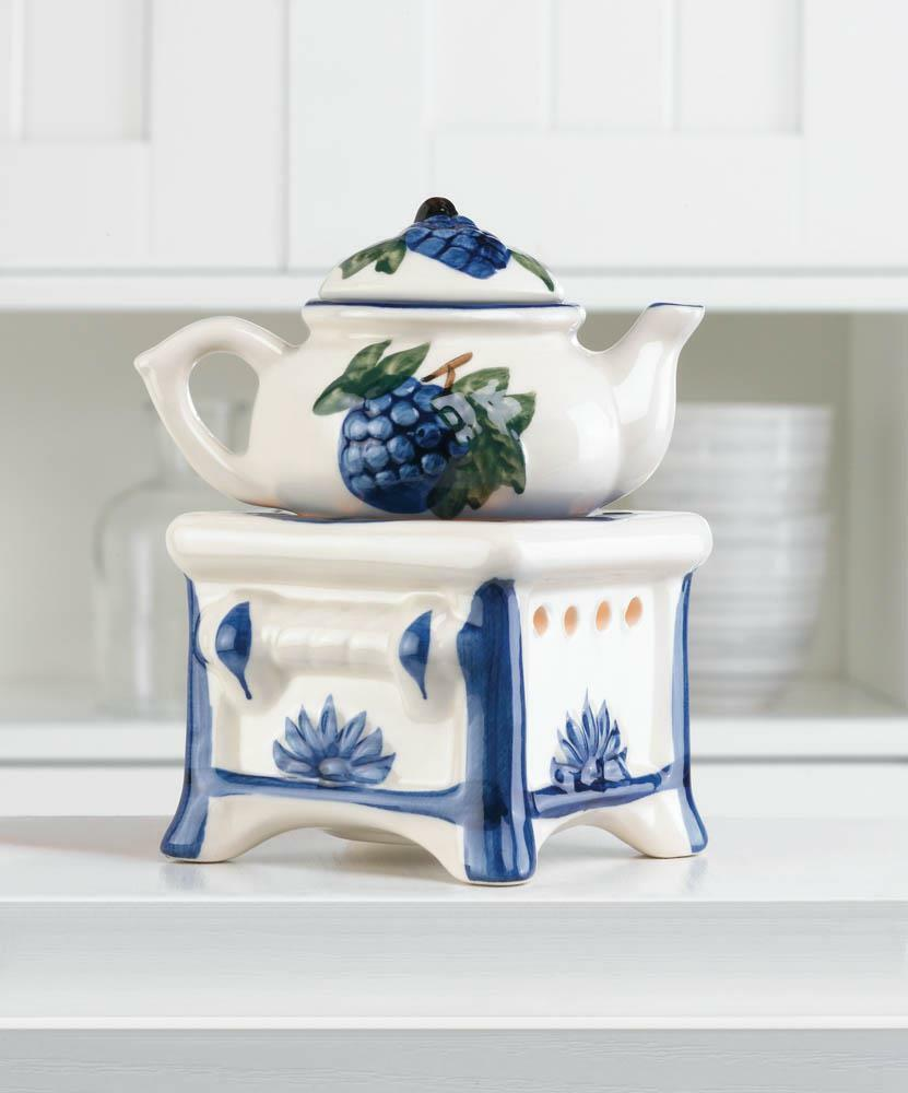 hand painted blue teapot stove candle holder Wax tart Oil