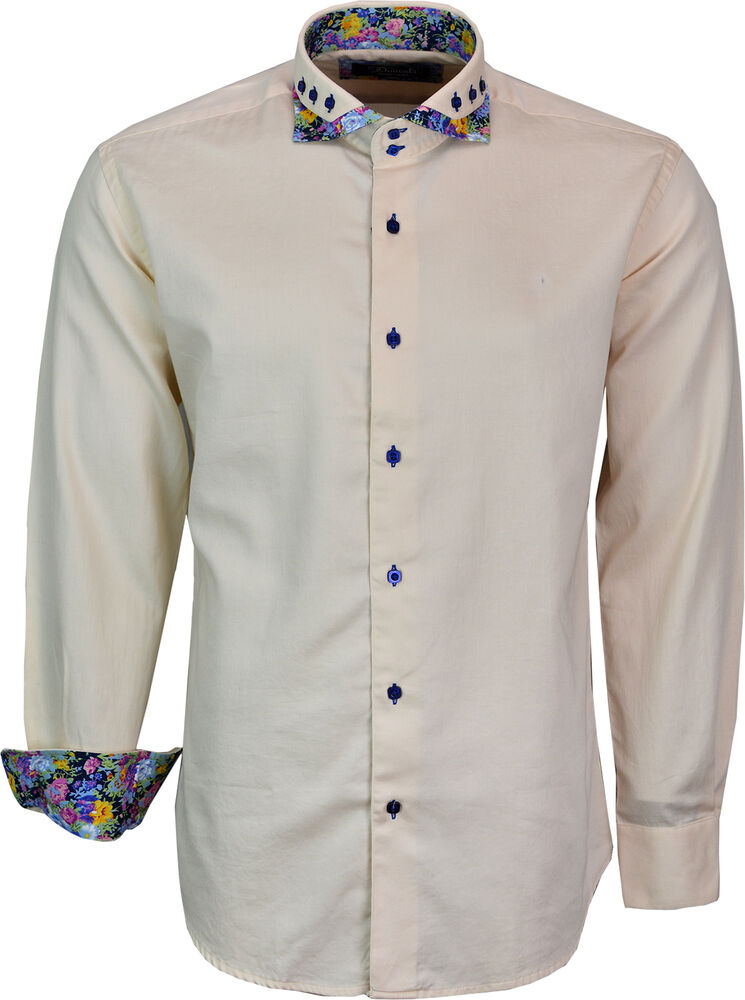 Mens designer italian shirt slim fit long sleeves casual for Mens slim hawaiian shirt