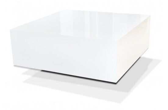 MODERN HIGH GLOSS LEVITATING WHITE SQUARE COFFEE TABLE TOP
