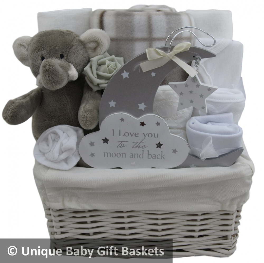 Novelty Baby Gifts Uk : Baby gift basket hamper unisex shower nappy cake new