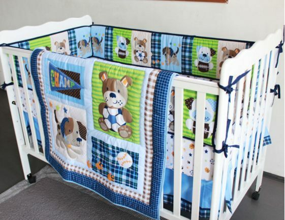 New 7 Piece Baby Boy Bedding Set Sports Dogs Balls Quilt