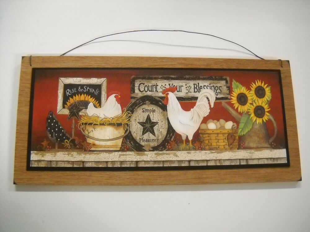 Rooster sunflowers count blessings country kitchen wooden for Country wall art