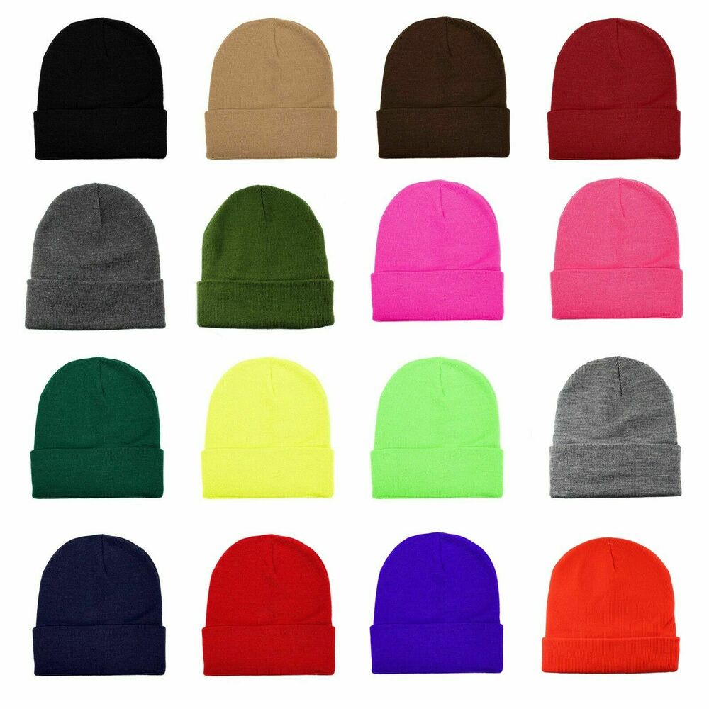 9b602b5434a Details about New Men Women Pull On Color Beanie Stretch Ski Snow Winter  Warm Hat Skull Cap