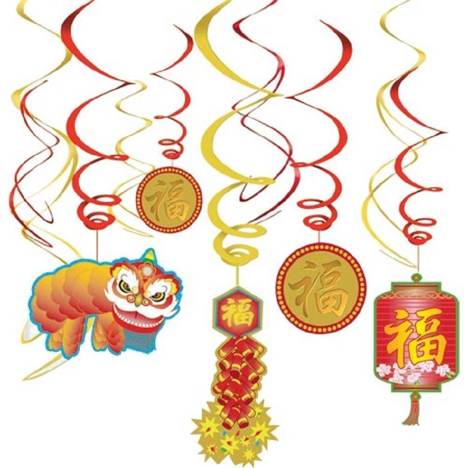 ASIAN CHINESE NEW YEAR SWIRLS HANGING PARTY DECORATIONS ...