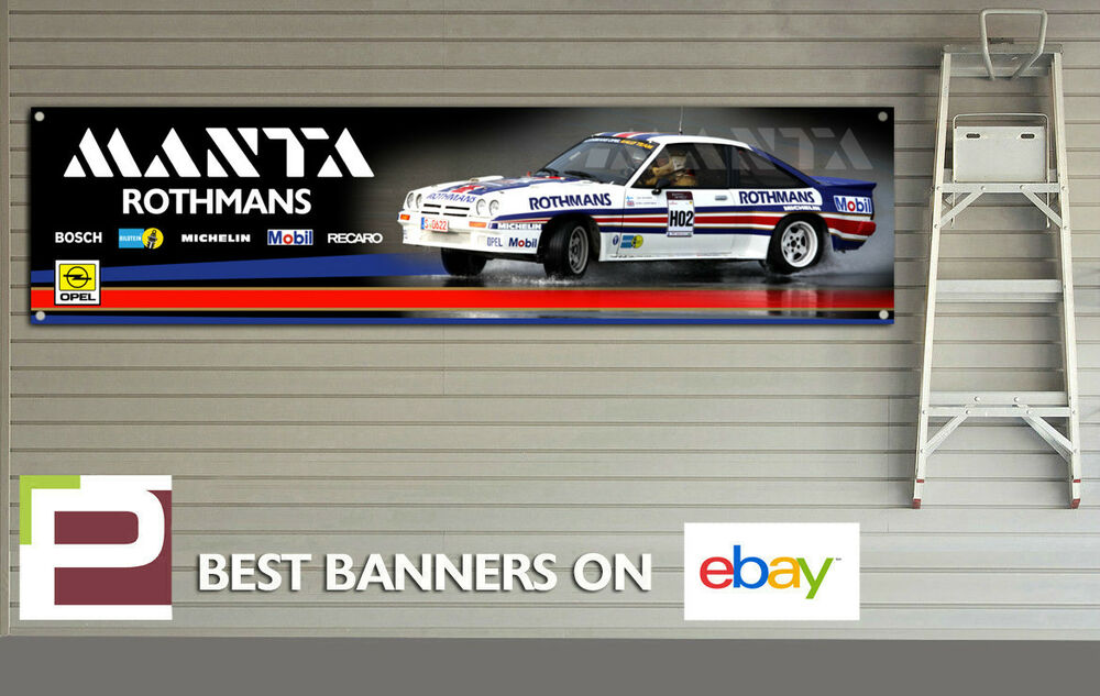 Opel manta group b rally car logo banner for workshop for Garage opel l union