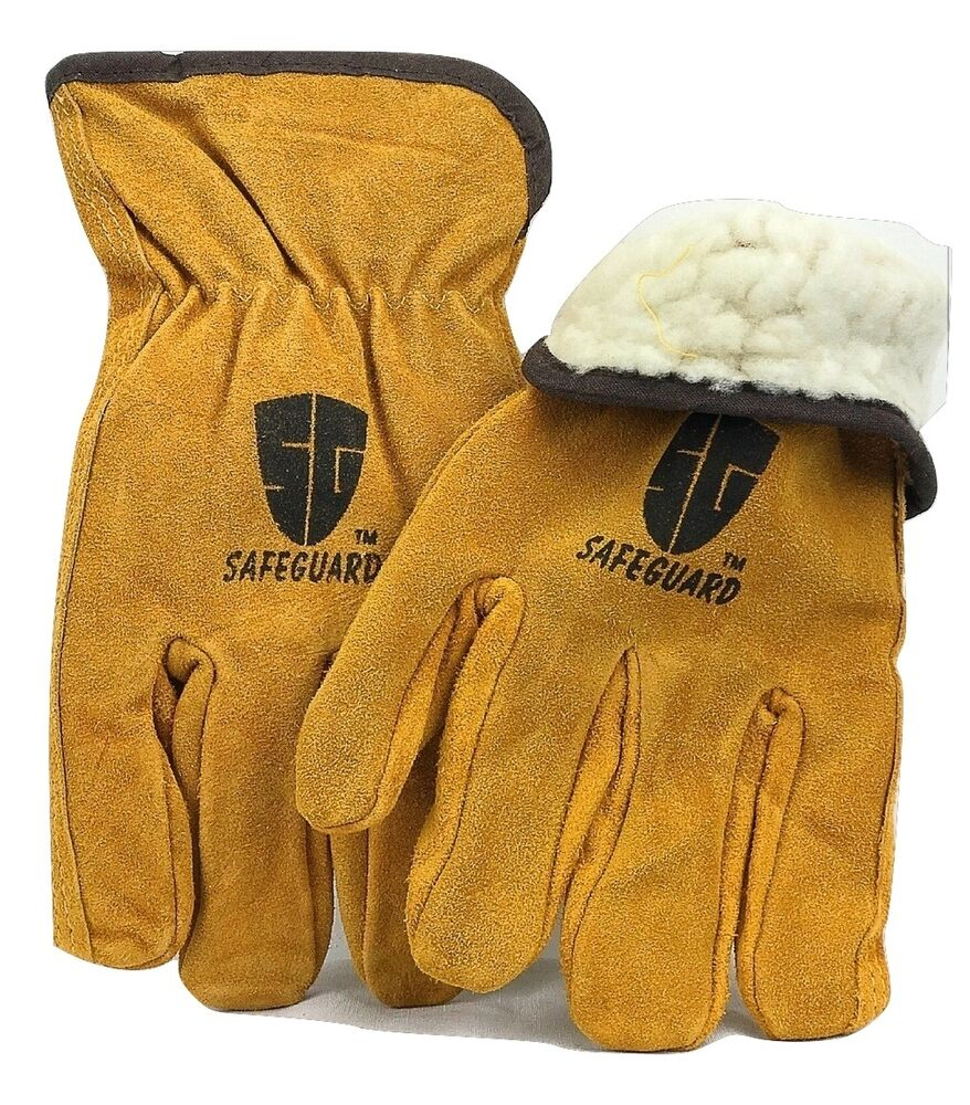 New 6 Pairs Safeguard Full Leather Work Glove Winter