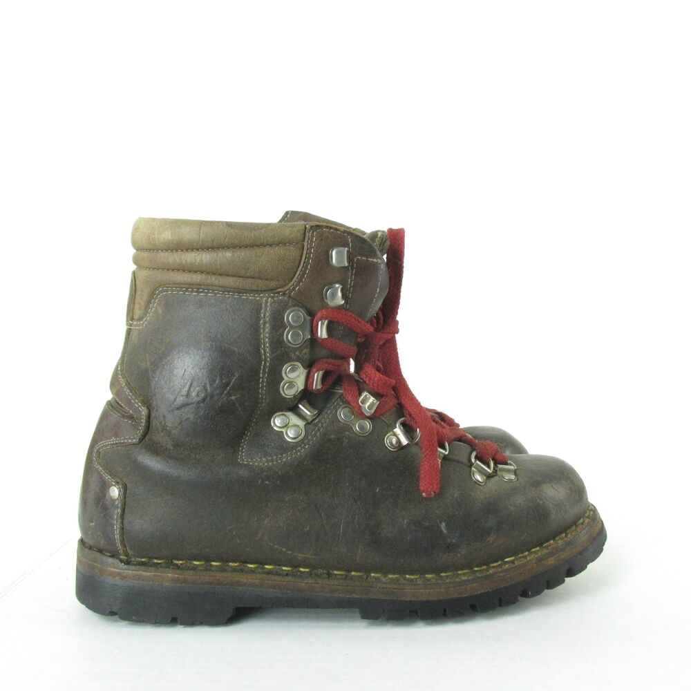 vintage mens lowa germany brown leather mountaineering