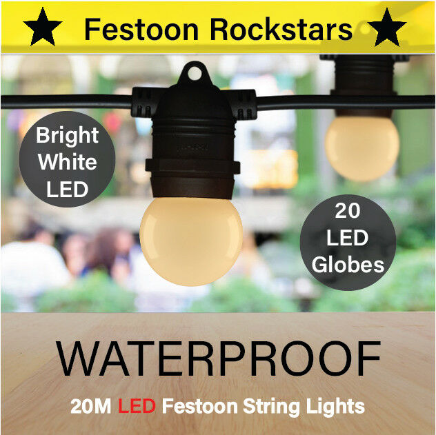 20m Black Festoon LED String Lights Outdoor Patio LED Lighting Party eBay