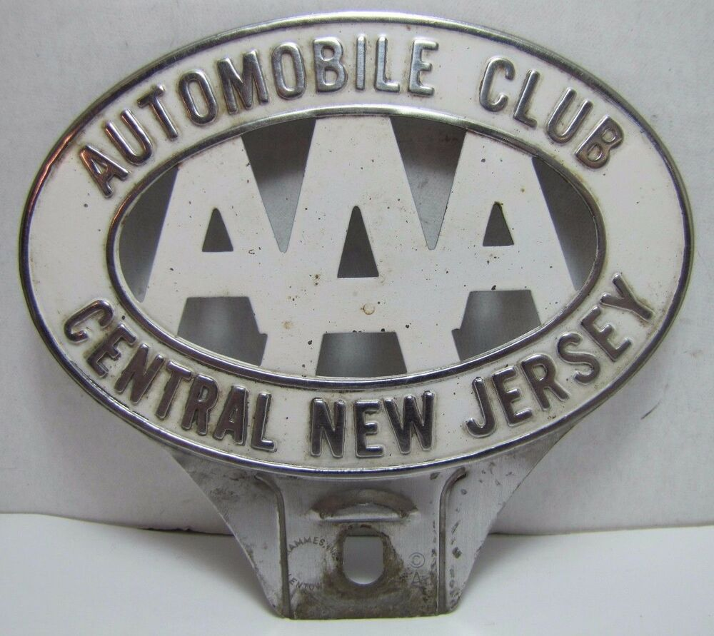 Vintage Aaa Automobile Club Central New Jersey License Plate Topper Sign Plaque Ebay