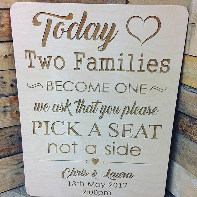 Vintage Rustic A2 Wooden Pick A Seat Not A Side Wedding
