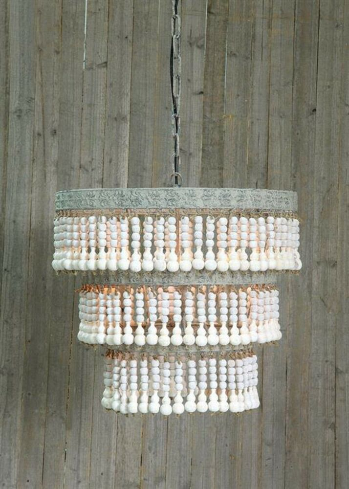 Wood Beaded Chandelier Ceiling Light Fixture White Cottage