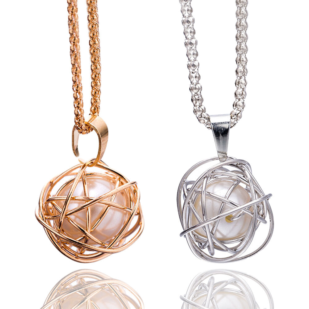 Lady Round Twisted Cage Faux Pearl Pendant Gold/Silver ...