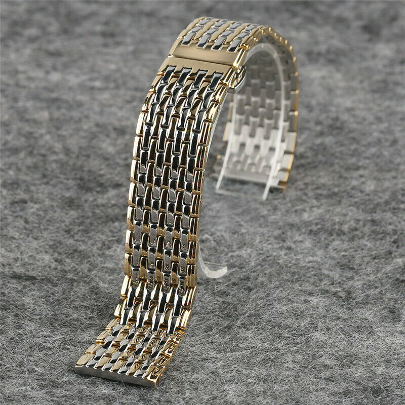 Silver Band Bracelet: Yellow Gold & Silver Watch Band Strap Stainless Steel 20