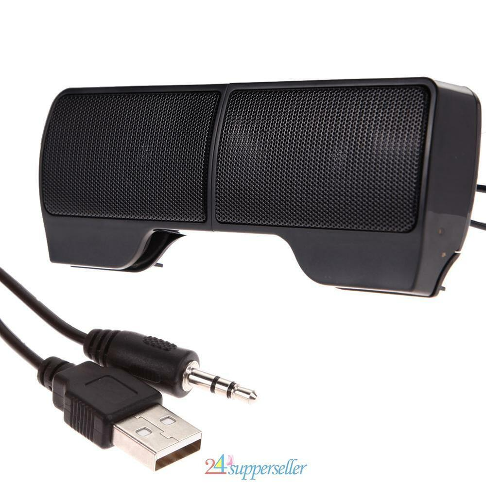 mini portable usb clip on stereo speaker sound bar for notebook laptop mp3 pc ebay. Black Bedroom Furniture Sets. Home Design Ideas