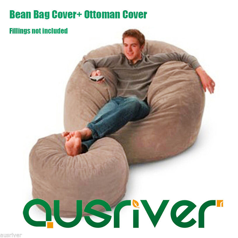 Suede Bean Bag Cover Ottoman Cover Set Luxury Seat Feeling