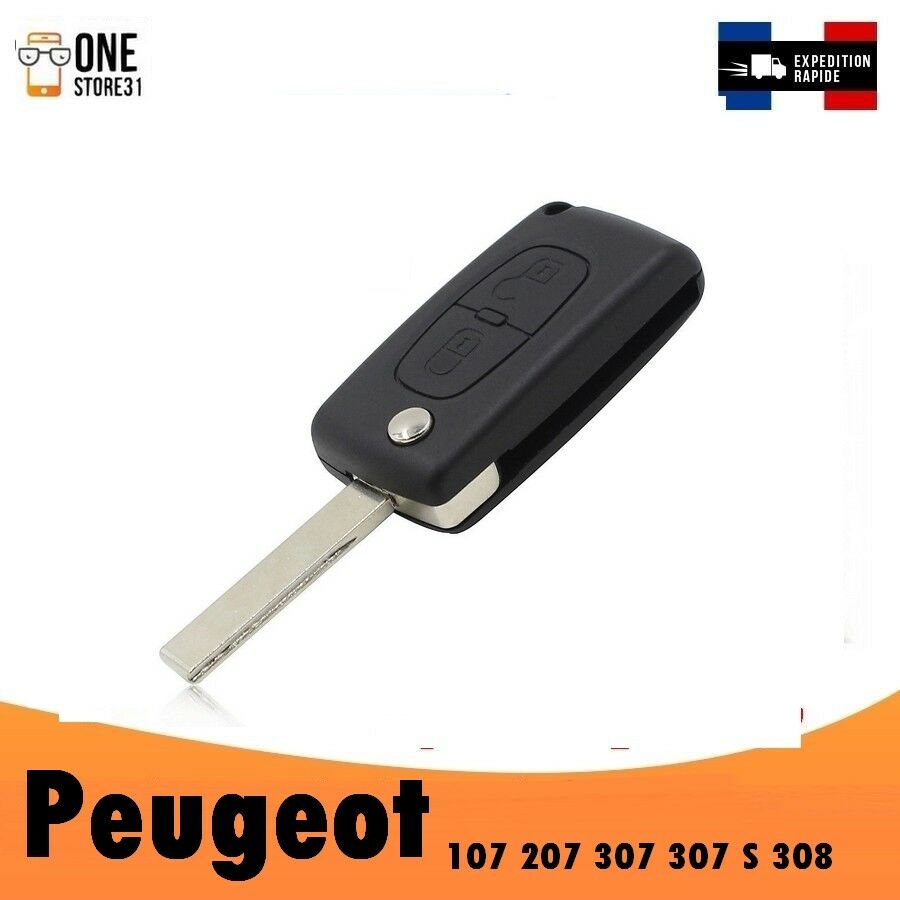 bo tier coque t l commande cl plip 2 boutons peugeot 107 207 307 307 s 308 logo ebay. Black Bedroom Furniture Sets. Home Design Ideas