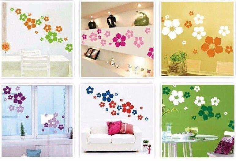 blumen deko wandsticker wandtattoo aufkleber wohnzimmer sticker tattoo ebay. Black Bedroom Furniture Sets. Home Design Ideas