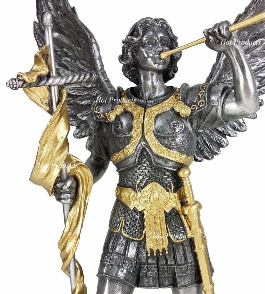 "Lucifer Gabriel: 13"" SAINT GABRIEL Archangel W/ Cross Statue Pewter & Gold"