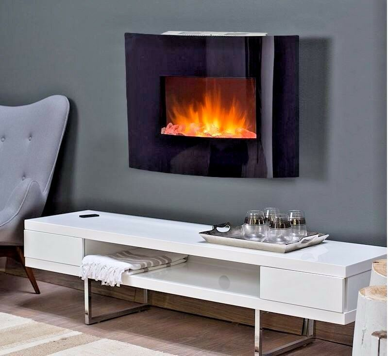 Estate Design Electric Fireplace Wall Mount Faux Heater Crushed Glass Modern Led Ebay