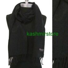 Mens WINTER 100% CASHMERE SCARF SOLID Charcoal Gray Scotland Soft Warm Wool Wrap