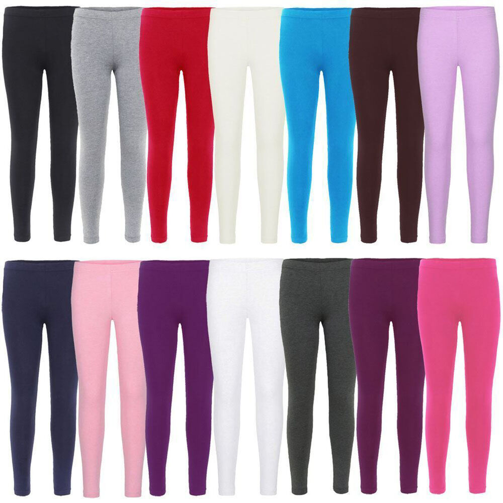 6a0adcdb Details about Kids Girls Plain Leggings Children Teen Basic Stretchy Full  Length 7-13 Years