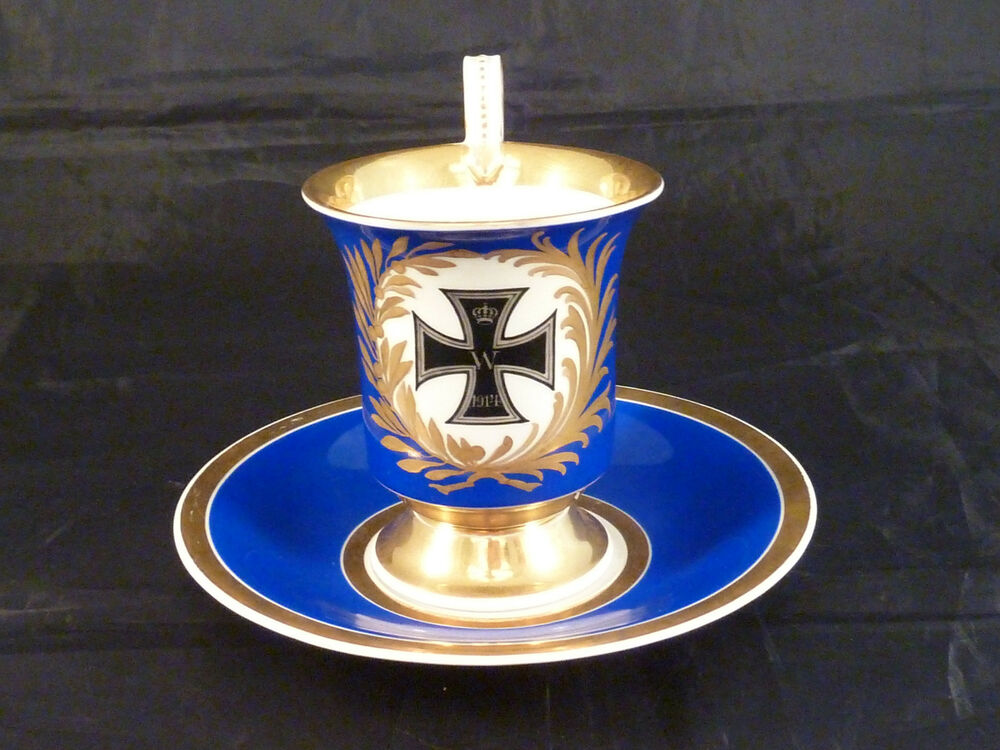 patriotische tasse untertasse kpm berlin eisernes kreuz 1 wk 1914 ebay. Black Bedroom Furniture Sets. Home Design Ideas