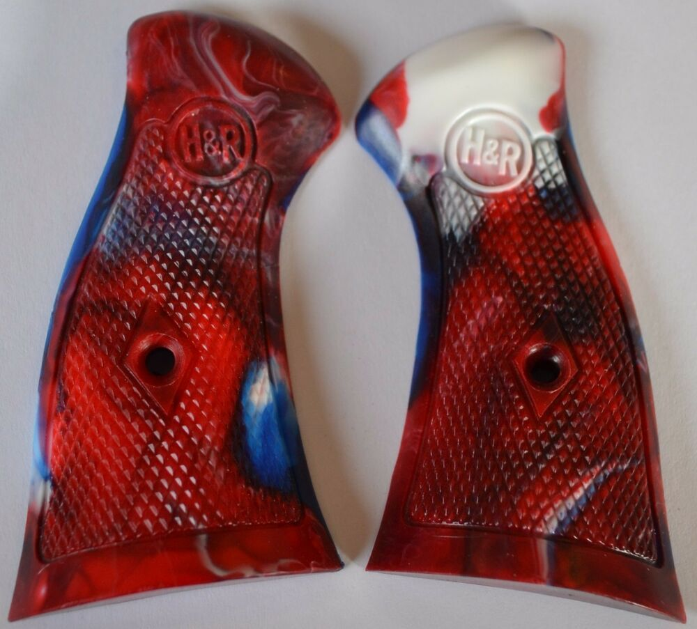 H&R 933 Pistol Grips Red White And Blue Swirl Plastic