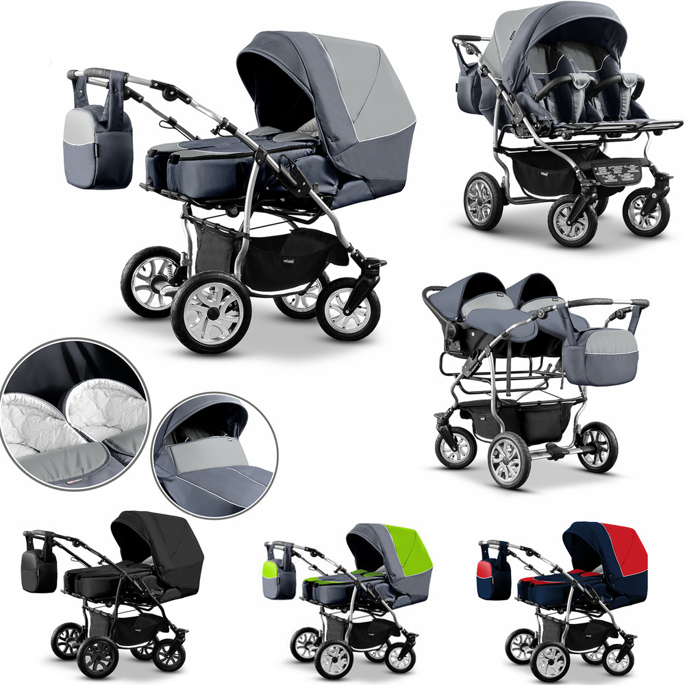 Twin Pram 3in1 Pushchair Double Buggy Twins Car Seats
