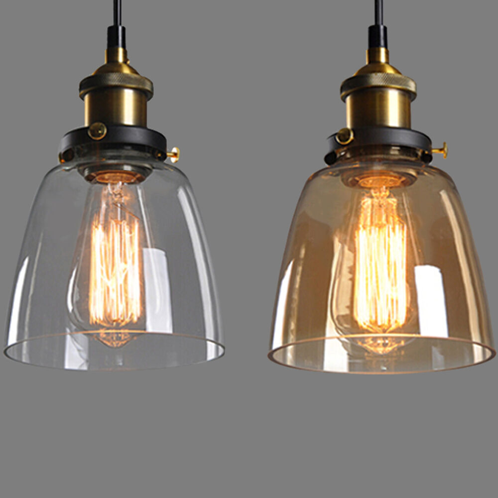 Chandelier Lighting Glass: Vintage Retro Glass Shade Ceiling Lights Chandelier