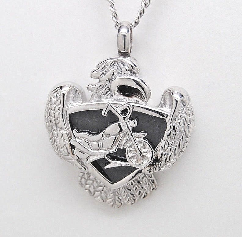Cremation jewelry motorcycle urn necklace with harley for Harley davidson jewelry ebay