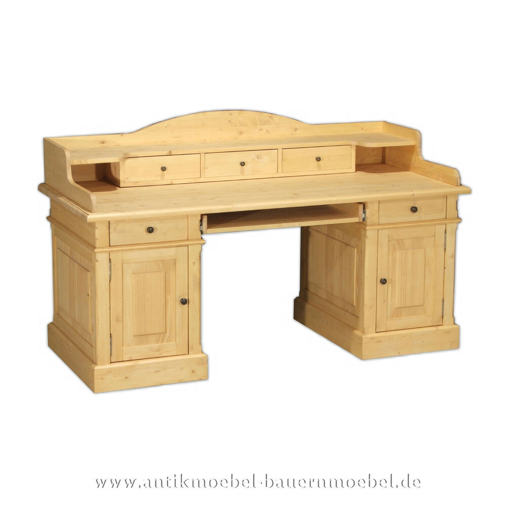schreibtisch computertisch arbeitstisch mit aufsatz landhausstil massivholz ebay. Black Bedroom Furniture Sets. Home Design Ideas