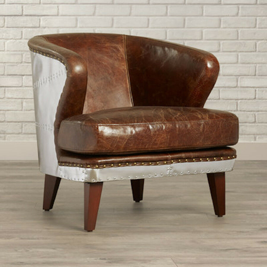 39 5 Quot W Aviator Pilot Club Chair Vintage Cigar Brown