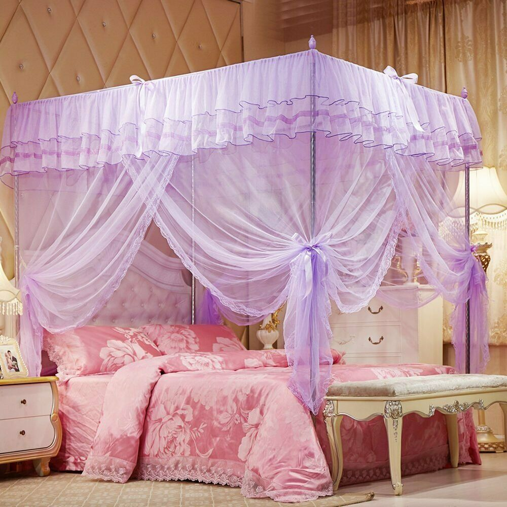 purple ruffled 4 post bed canopy netting curtains sheer panels corner any size ebay. Black Bedroom Furniture Sets. Home Design Ideas