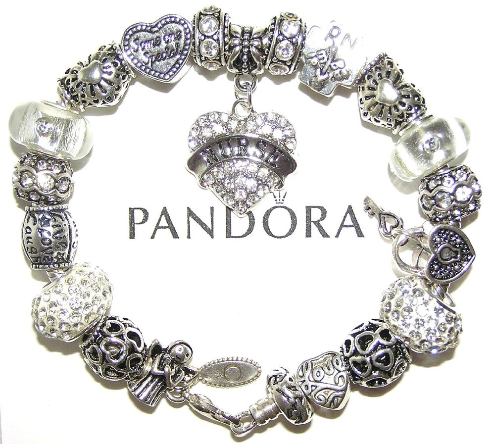 authentic pandora sterling silver bracelet with european