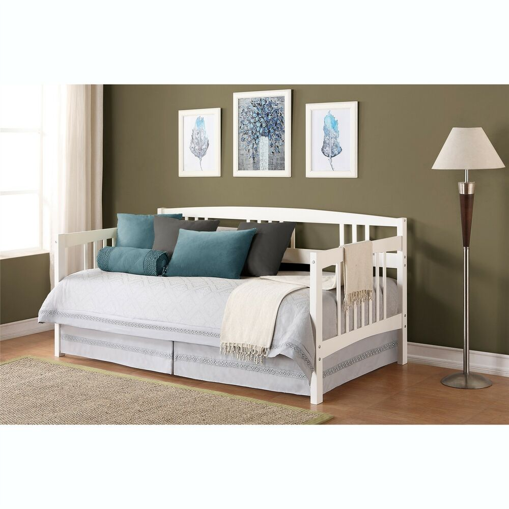 White twin size wood day bed home living room dorm guest for Home furniture beds