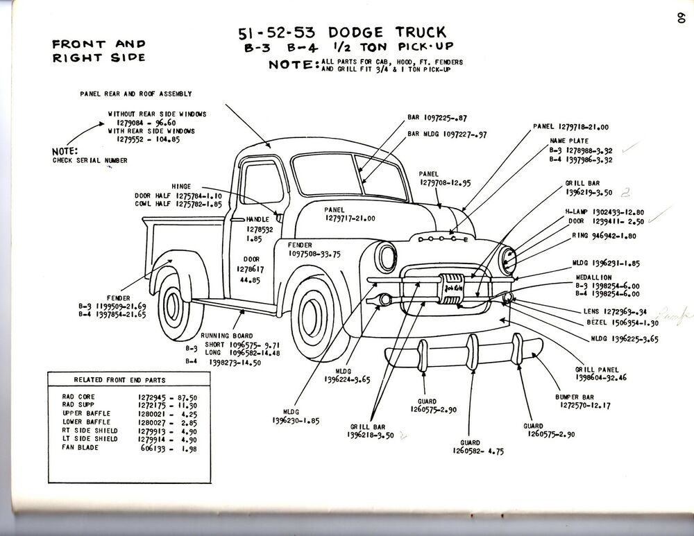 1948 1949 1950 dodge truck 1  2 3  4 1 ton exterior body parts diagram sheets wm