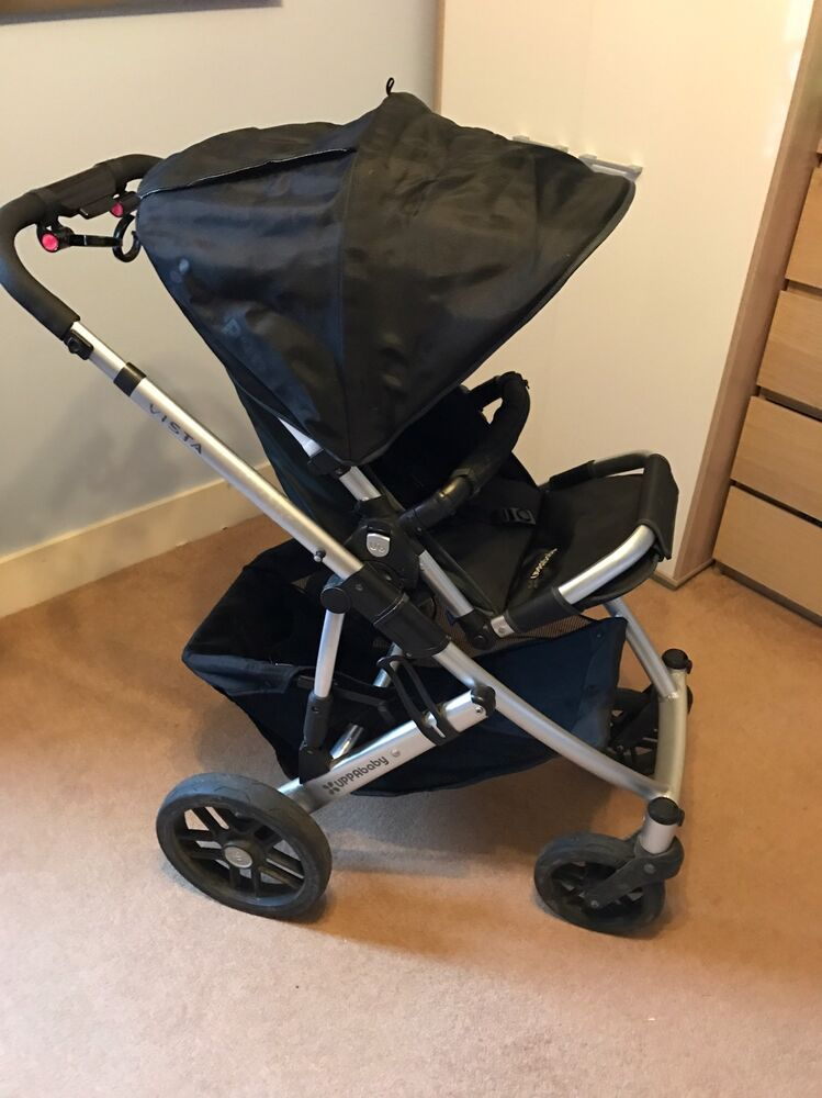 Uppababy Vista Jake Black Pushchairs Single Seat Stroller With Extra Covers Ebay