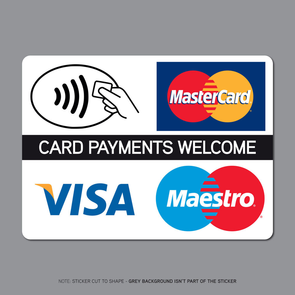 Contactless Card Payments Sticker Credit Card Taxi Shop