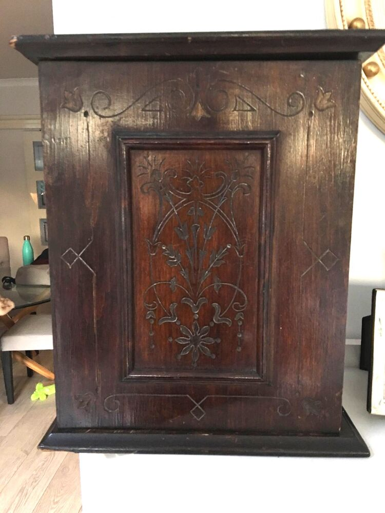 Antique Small Mahogany Wall Cabinet With Hinged Door Ebay - Small Antique Wall Cabinet - Nagpurentrepreneurs