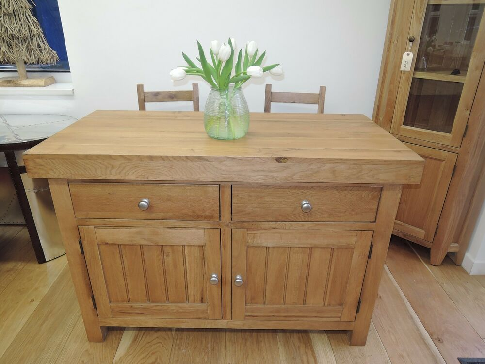 Oakwood Oak Kitchen Island Breakfast Bar Solid Heavy Unit