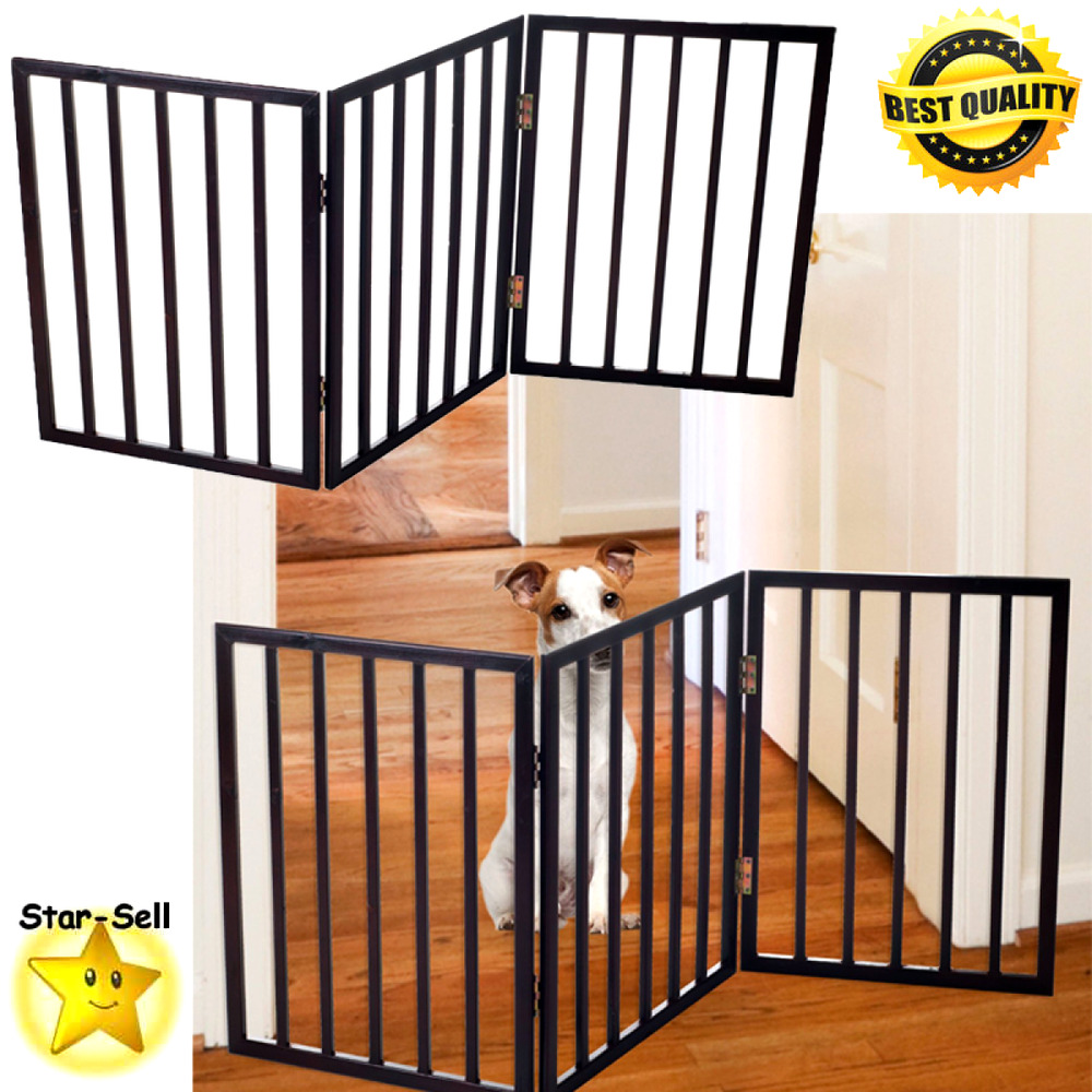 Folding pat gate free standing cat dog indoor fence baby