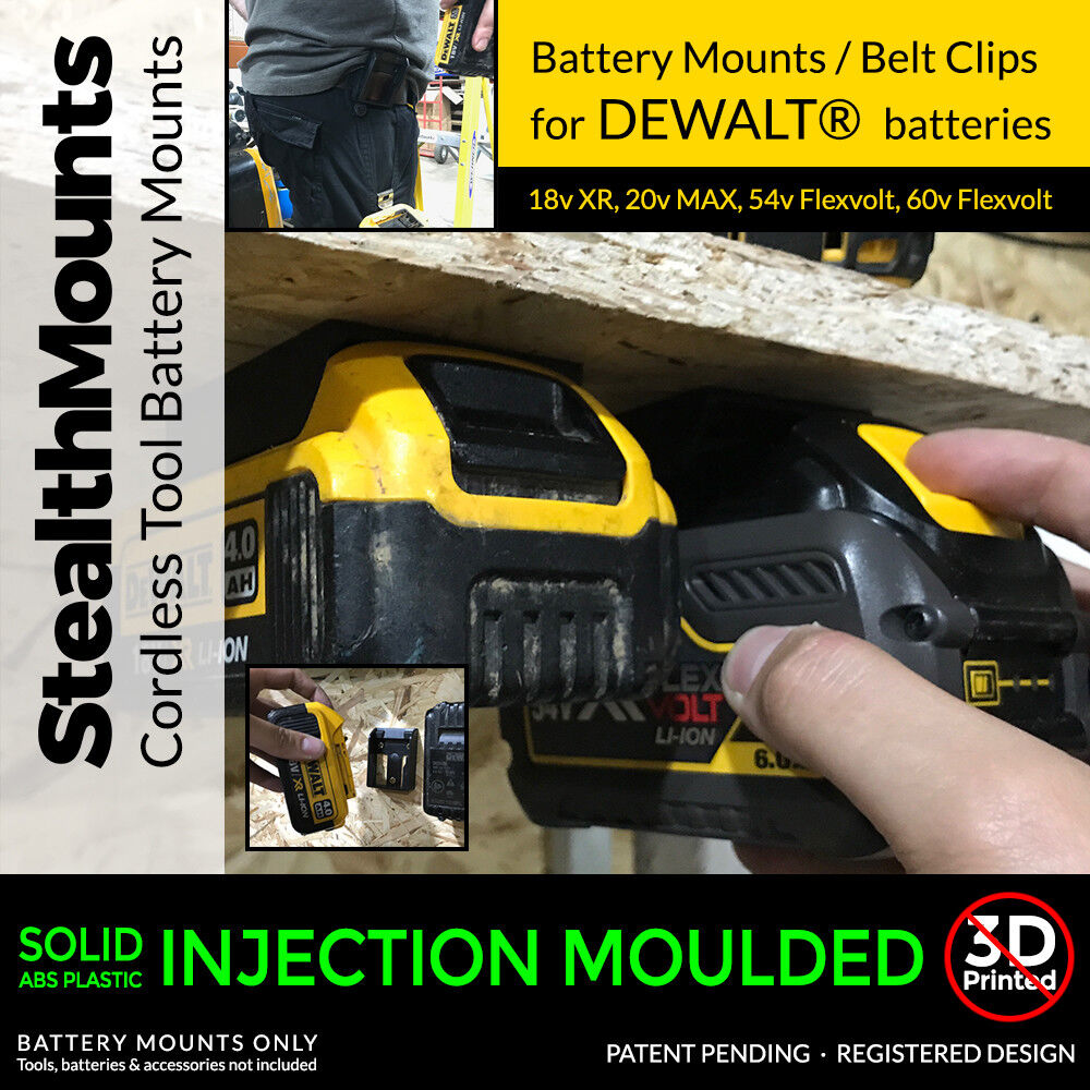 5x Stealth Mounts For Dewalt 20v 18v Battery Holder Slot