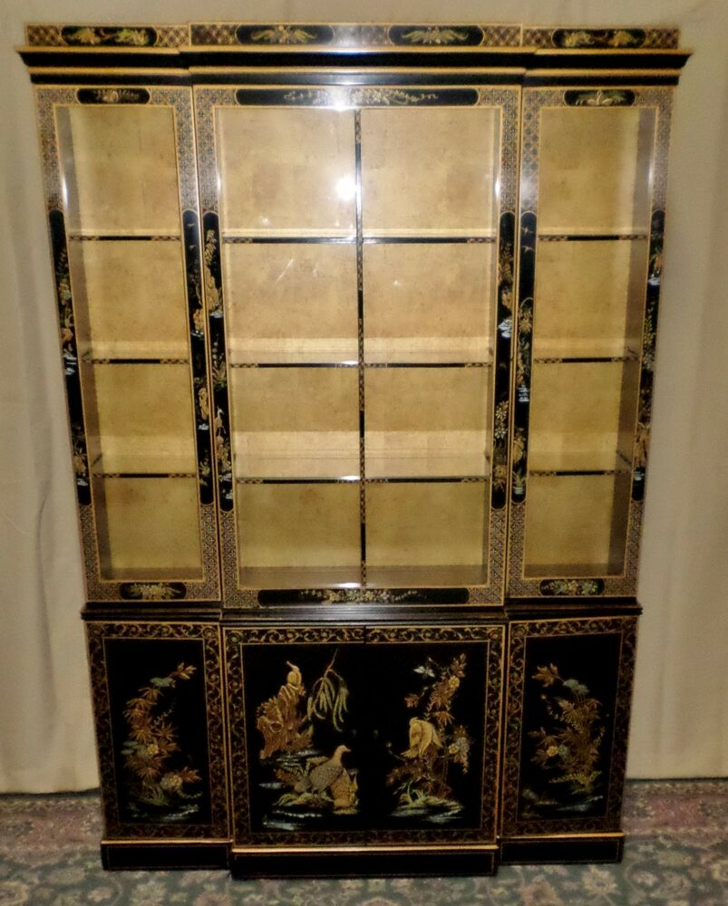 Drexel China Cabinet Painted Floral Asian Style Display