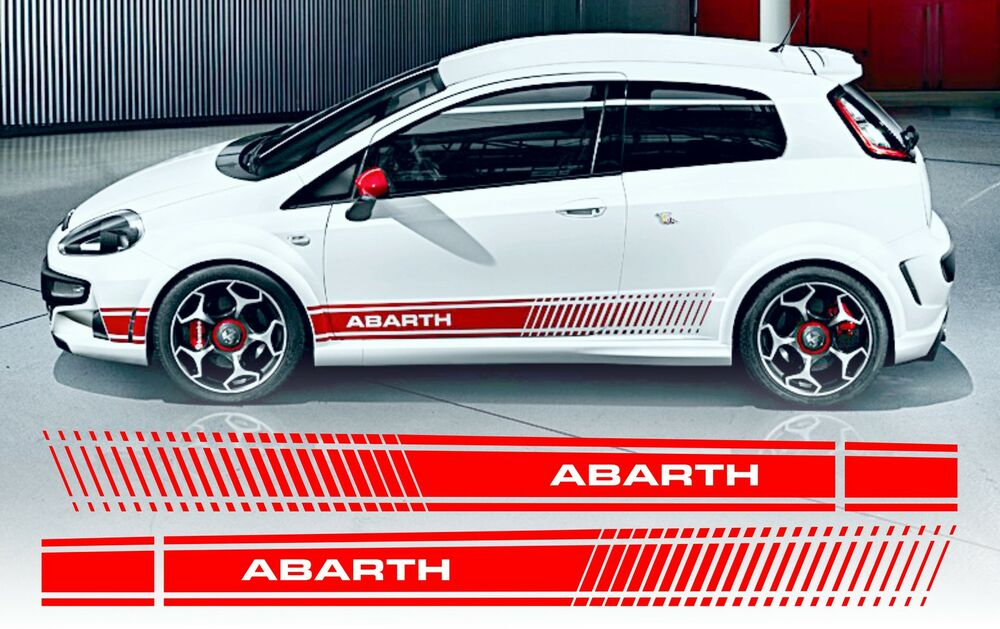 fiat punto evo style abarth side stripe decals stickers ebay. Black Bedroom Furniture Sets. Home Design Ideas