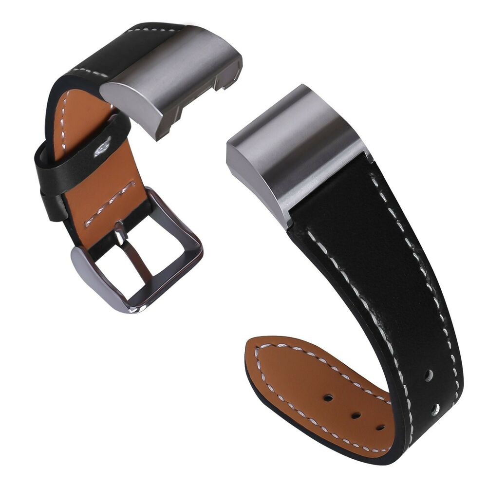 black stitched leather wristband band bracelet strap for fitbit charge 2 ebay. Black Bedroom Furniture Sets. Home Design Ideas
