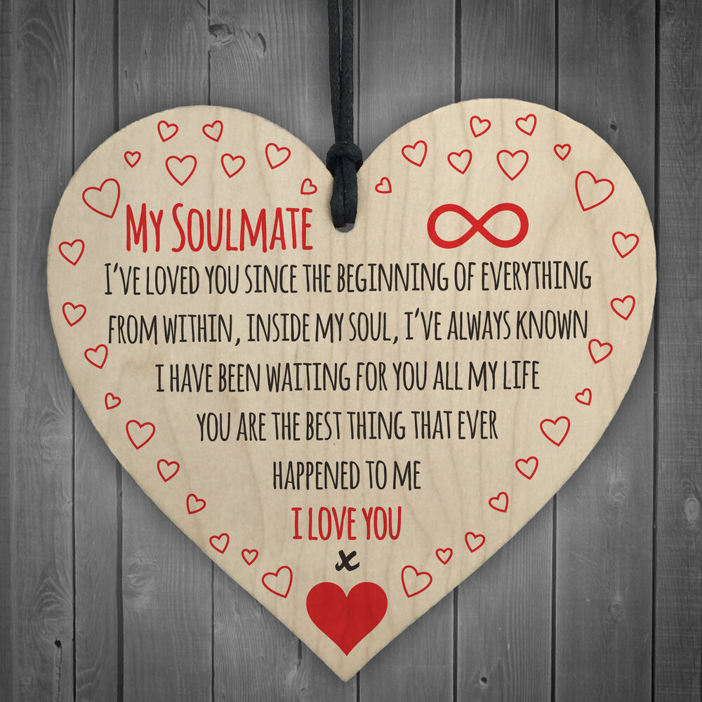 I Love You: My Soulmate I Love You Wooden Hanging Heart Plaque Cute