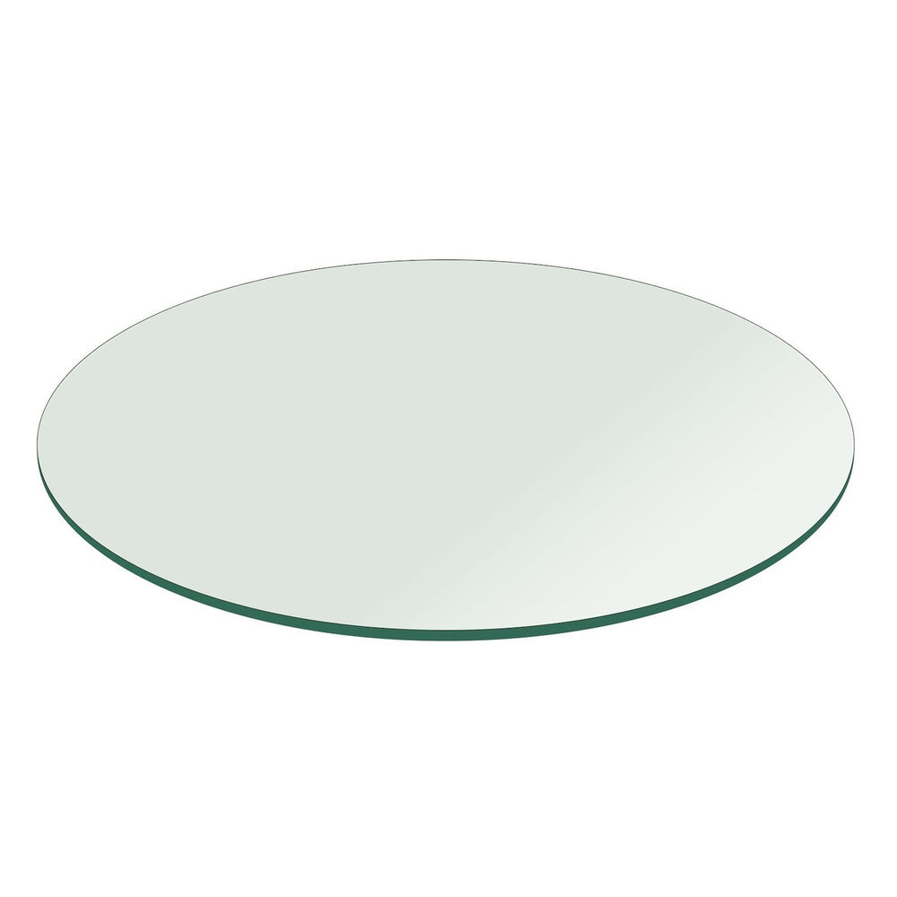 Fab glass and mirror round clear glass table top with flat for Glass and mirror