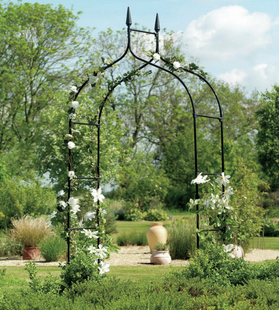 Gothic arbor garden trellis outdoor metal arch for for Outdoor patio landscaping