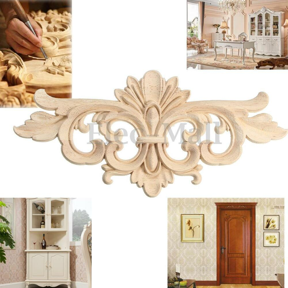 Elegant wood carved corner onlay applique frame decor for Applique furniture decoration